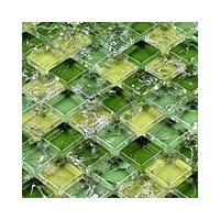 玻璃水晶绿色田园风冰裂冰花马赛克走廊玄关淋浴房背景墙贴