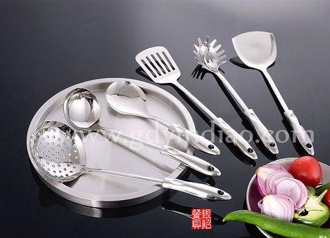 不锈钢厨具套件韩式皇家骨瓷不锈钢厨具六件套厨房勺铲 早晨玫瑰