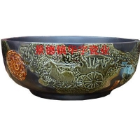 景德镇华宇瓷业-雕刻大马拉车碗盆-厂家直销-仿古艺术盆-实木