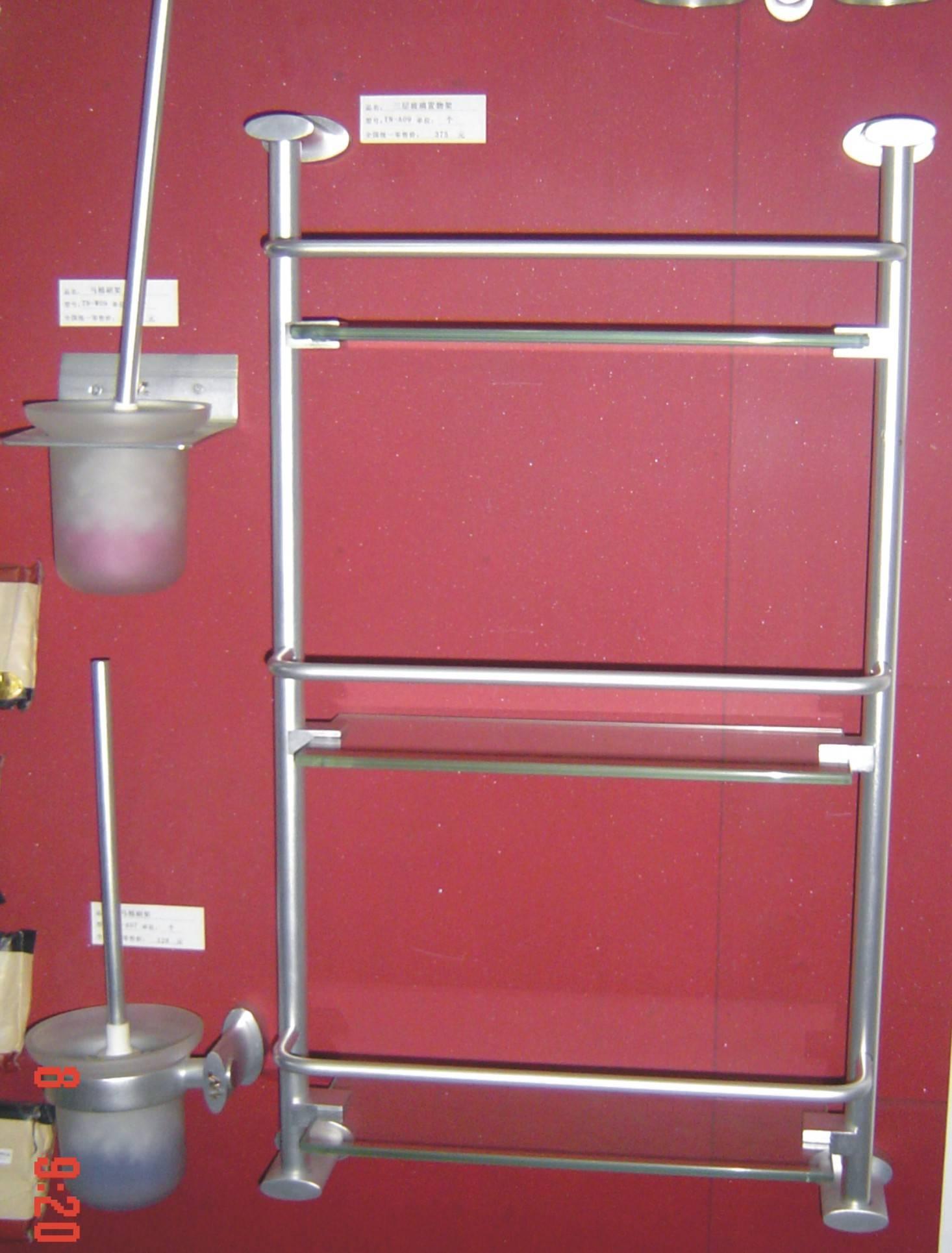 钛铝合金三层玻璃置物架