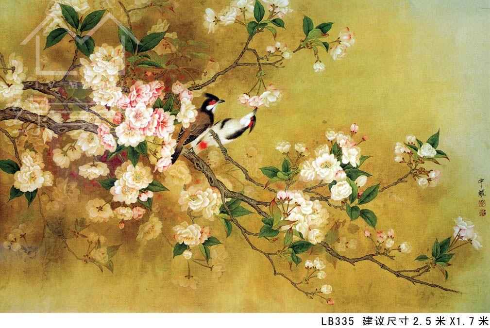 中式硅藻泥墙画贴图