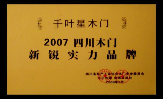 2007四川木門新銳實力品牌